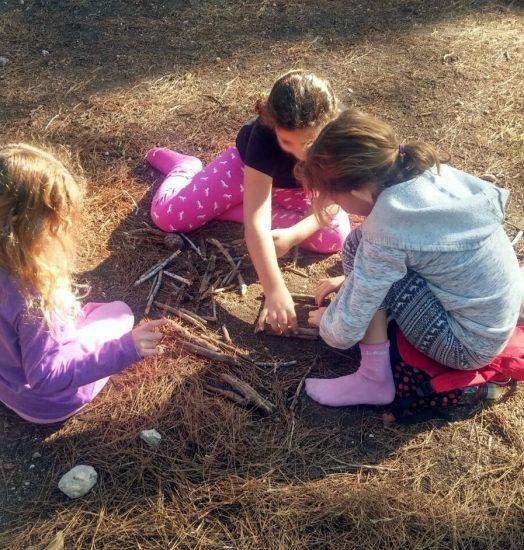 הרשת הירוקה: למידה משמעותית - ילדות משחקות בענפים
