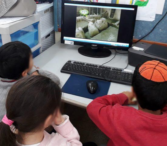 ילדי גן צופים בסרטון